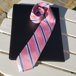 👔 Pink and Light Blue Striped Mens Tie